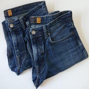 J Crew Mens 770 100% Cotton Jeans 2 PC lot 31x34